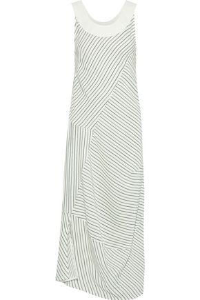 VICTORIA BECKHAM Leather-trimmed striped silk crepe de chine midi dress
