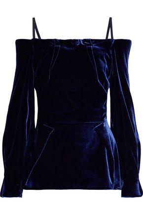 ROLAND MOURET Walston cold-shoulder velvet top