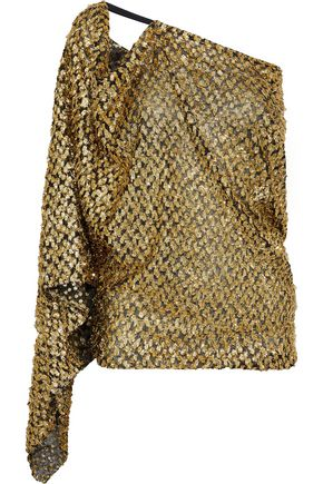 ROLAND MOURET Kara one-shoulder draped fil coupé chiffon top