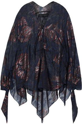 ROLAND MOURET Becker metallic silk-blend fil coupé top