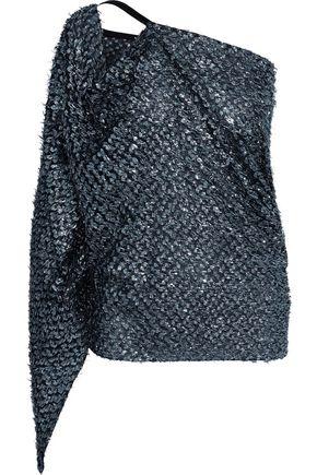 ROLAND MOURET Kara one-shoulder metallic fil coupé top