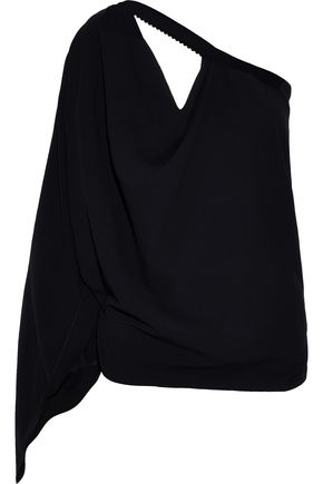 ROLAND MOURET Kara one-shoulder cutout crepe top