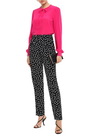 Dolce & Gabbana Woman Tie-Neck Silk Crepe De Chine Blouse Bright Pink