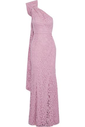 ZAC ZAC POSEN Flora one-shoulder bow-embellished corded lace gown