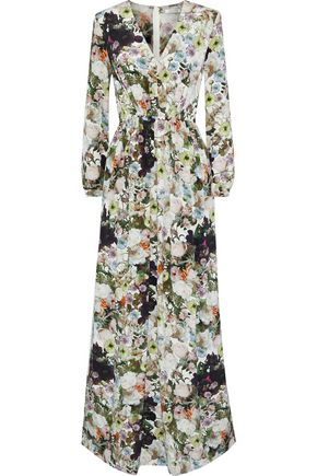 ADAM LIPPES Pleated floral-print silk-crepe maxi dress