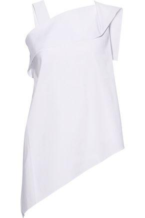 ROLAND MOURET Iver asymmetric cotton-blend poplin top