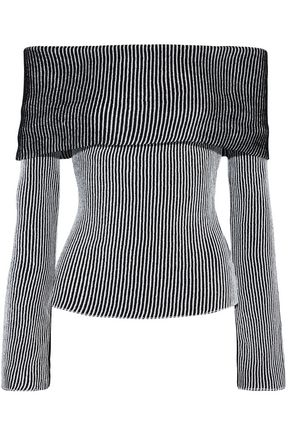 ROLAND MOURET Finney off-the-shoulder striped ribbed-knit top