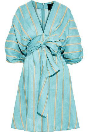 PAPER London Kaia tie-front striped linen-blend dress