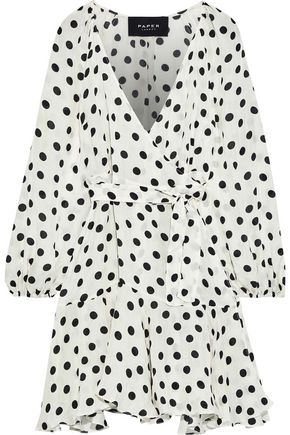 PAPER London Ottie polka-dot crinkled-silk mini wrap dress
