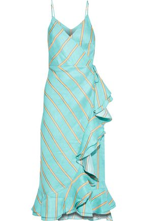 PAPER London Peonie ruffled striped linen-blend midi wrap dress