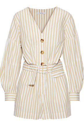 DEREK LAM 10 CROSBY Belted striped cotton-poplin playsuit