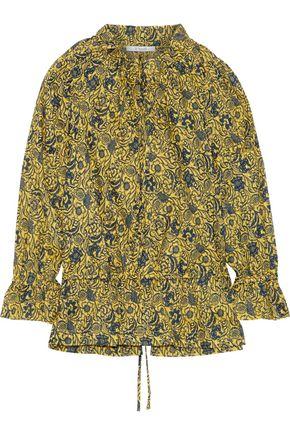 DEREK LAM 10 CROSBY Ruffle-trimmed floral-print cotton-jacquard blouse