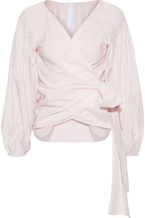 MERLETTE Sant Josep smocked cotton-poplin wrap top