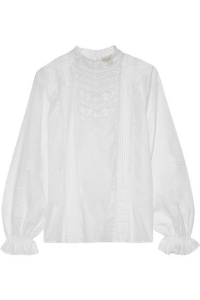 VANESSA BRUNO Pintucked embroidered cotton shirt