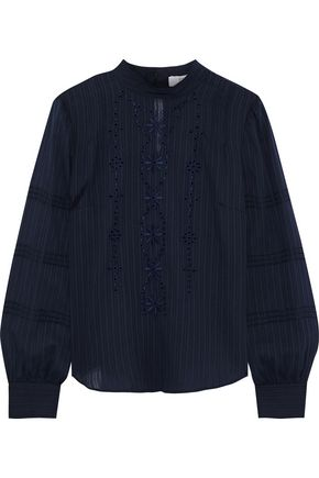 DEREK LAM 10 CROSBY Cutout broderie anglaise textured-cotton shirt