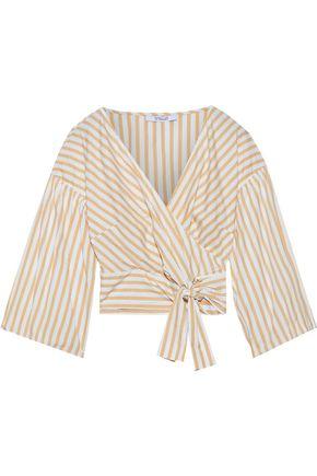 DEREK LAM 10 CROSBY Cropped striped cotton-poplin wrap top