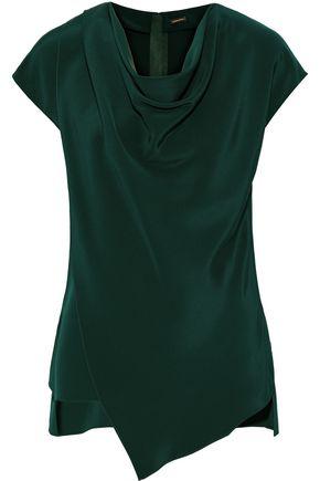 ADAM LIPPES Draped silk-crepe top