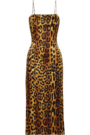 ADAM LIPPES Leopard-print hammered silk-satin midi slip dress