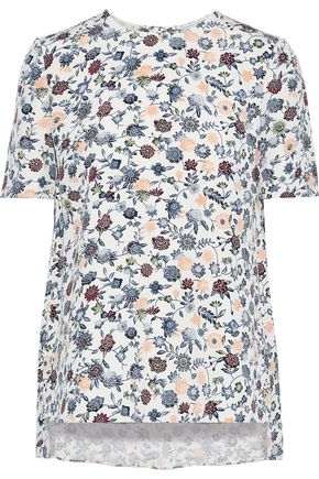 ADAM LIPPES Floral-print silk-crepe T-shirt