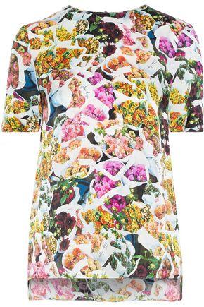 ADAM LIPPES Floral-print silk crepe de chine T-shirt