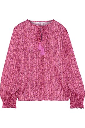 DEREK LAM 10 CROSBY Tasseled metallic floral-print burnout satin blouse