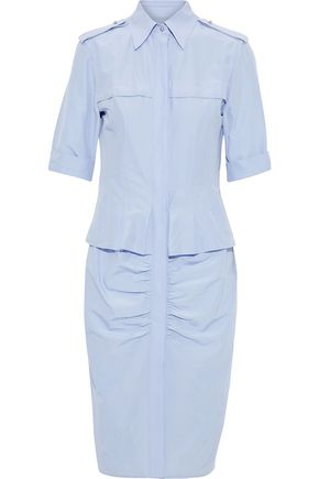 JASON WU Ruched cotton and silk-blend poplin shirt dress