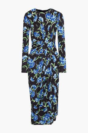 JASON WU Gathered floral-print stretch-cady dress