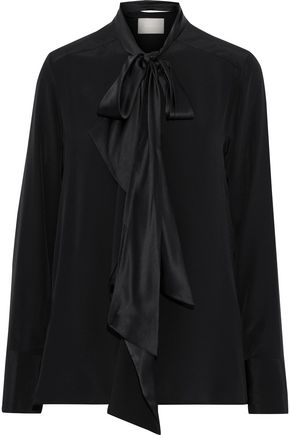 JASON WU Pussy-bow charmeuse-trimmed silk crepe de chine blouse