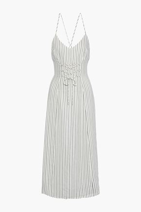 J BRAND Lace-up striped jacquard midi dress