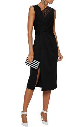 Jason Wu Dresses JASON WU WOMAN LACE-TRIMMED CADY DRESS BLACK