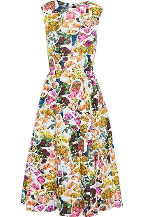 ADAM LIPPES Grosgrain-trimmed floral-print cotton and silk-blend faille dress