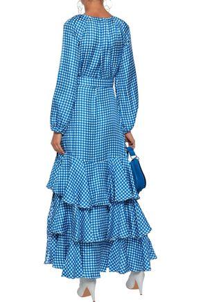 PAPER London Neli tiered gingham silk-twill maxi wrap dress