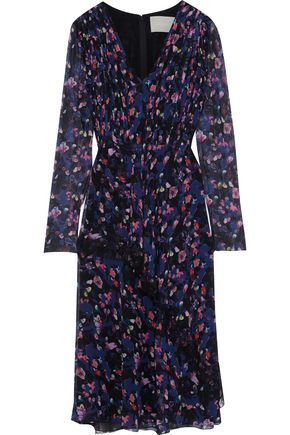 JASON WU Chantilly lace-trimmed pleated floral-print silk-georgette dress