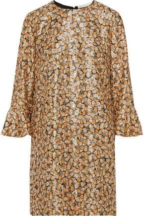VANESSA BRUNO Metallic ramie-blend floral-jacquard mini dress