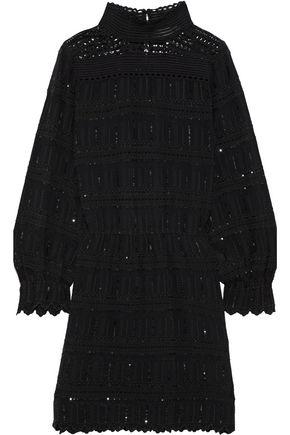 VANESSA BRUNO July crochet-paneled embellished broderie anglaise crepe mini dress