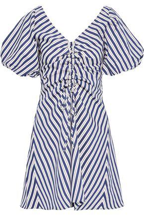PAPER London Ruched striped satin-twill mini dress
