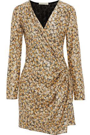 VANESSA BRUNO Wrap-effect gathered brocade mini dress