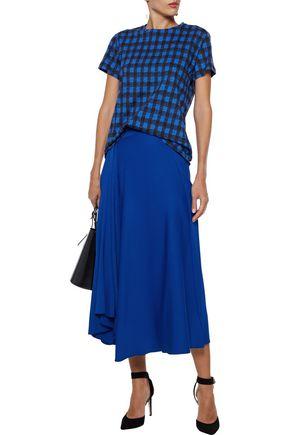 Derek Lam T-shirts DEREK LAM WOMAN CHECKED COTTON-JERSEY T-SHIRT BLUE