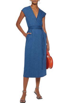 Derek Lam Dresses DEREK LAM WOMAN WRAP-EFFECT BELTED DENIM MIDI DRESS BLUE