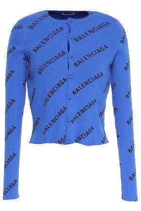 BALENCIAGA Cropped printed ribbed-knit cardigan