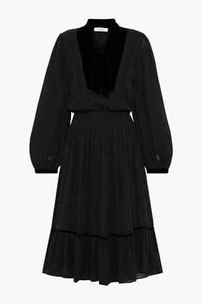 FRAME Velvet-trimmed polka-dot silk-georgette dress