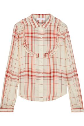 FRAME Ruffle-trimmed checked Tencel-twill shirt