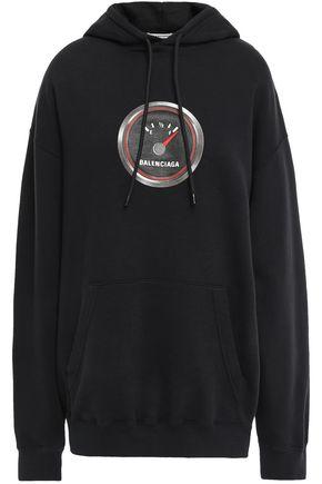 BALENCIAGA Printed French cotton-terry hoodie
