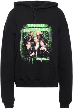 BALENCIAGA Printed cotton-fleece hoodie