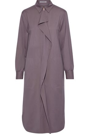 AGNONA Ruffled wool and cashmere-blend twill shirt dress