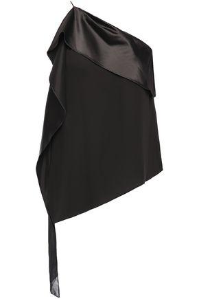 HALSTON One-shoulder satin and georgette-paneled crepe top