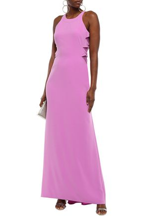 Halston Heritage Woman Cutout Twisted Stretch-Crepe Gown Lavender