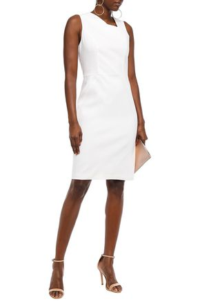 Halston Heritage Woman Pleated Linen-Blend Dress Ivory