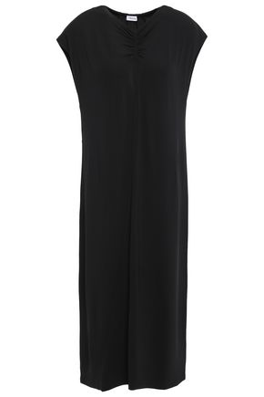 FILIPPA K Asymmetric ruched slub jersey midi dress