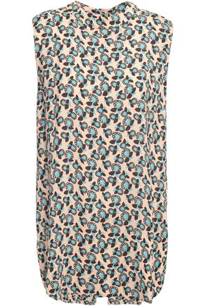 MARNI Asymmetric printed crepe top